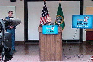 DOL Director Liz Luce speaks at a news conference June 10 on the new cell phone law.
