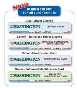 New header colors on WA driver licenses, enhanced driver license, ID cards