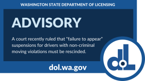 """Image that says, """"Advisory: A court recently ruled that """"failure to appear"""" suspensions for drivers with non-criminal moving violations must be rescinded."""""""